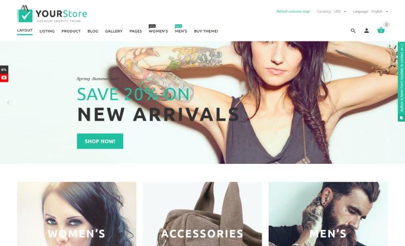 YourStore, plantilla para Shopify