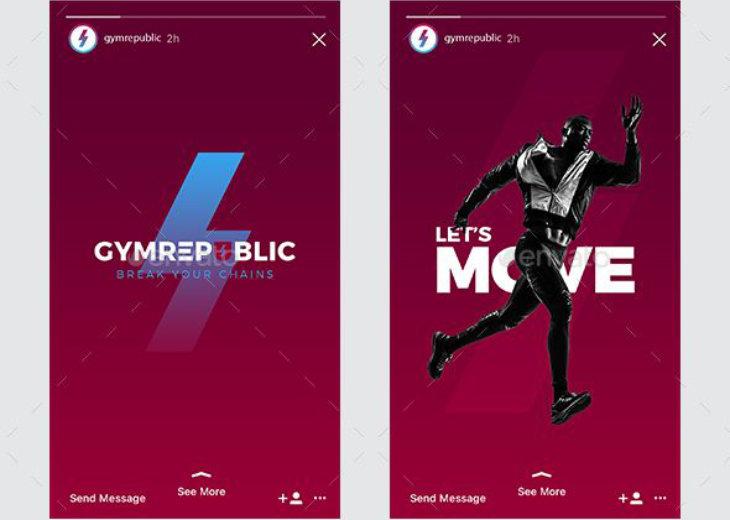 Fitness Gym, plantilla para Instagram Stories