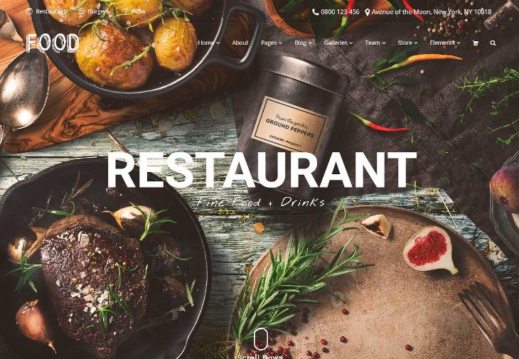 Food, plantilla WordPress para restaurantes
