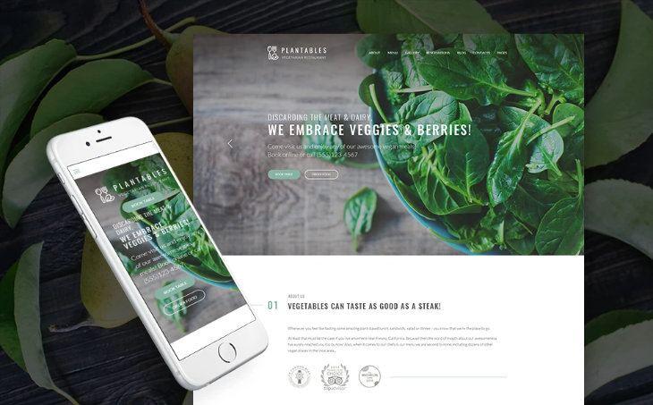 Plantables, plantilla WordPress para restaurantes