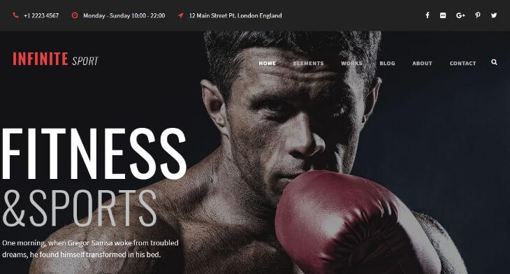 Infinite, plantilla WordPress para gimnasios, centros deportivos y de fitness