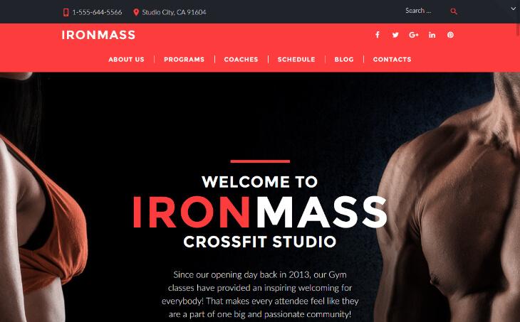 IronMass, plantilla WordPress para gimnasios, centros deportivos y de fitness