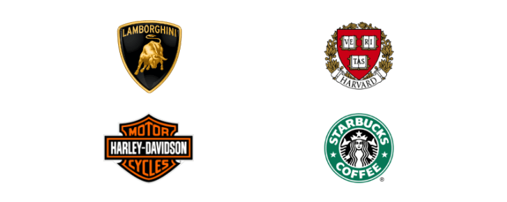 ejemplos logotipos emblemas, harvard, harley davinson, starbucks, lamborghini