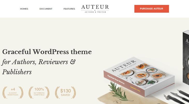 Auteur, plantilla WordPress para autores, escritores y editores