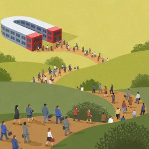 ilustracion de personas haciendo fila para entrar a trabajar