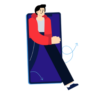 ilustracion vectorial de una persona slaiendo de un movil