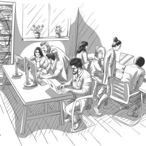 grupo de diseñadores trabajando