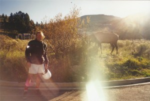 Silouan with a moose in Yellowstone National Park!