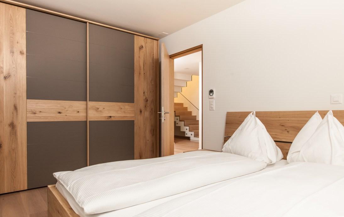 Schlafzimmer Ferienwohnung Sils, St. Moritz