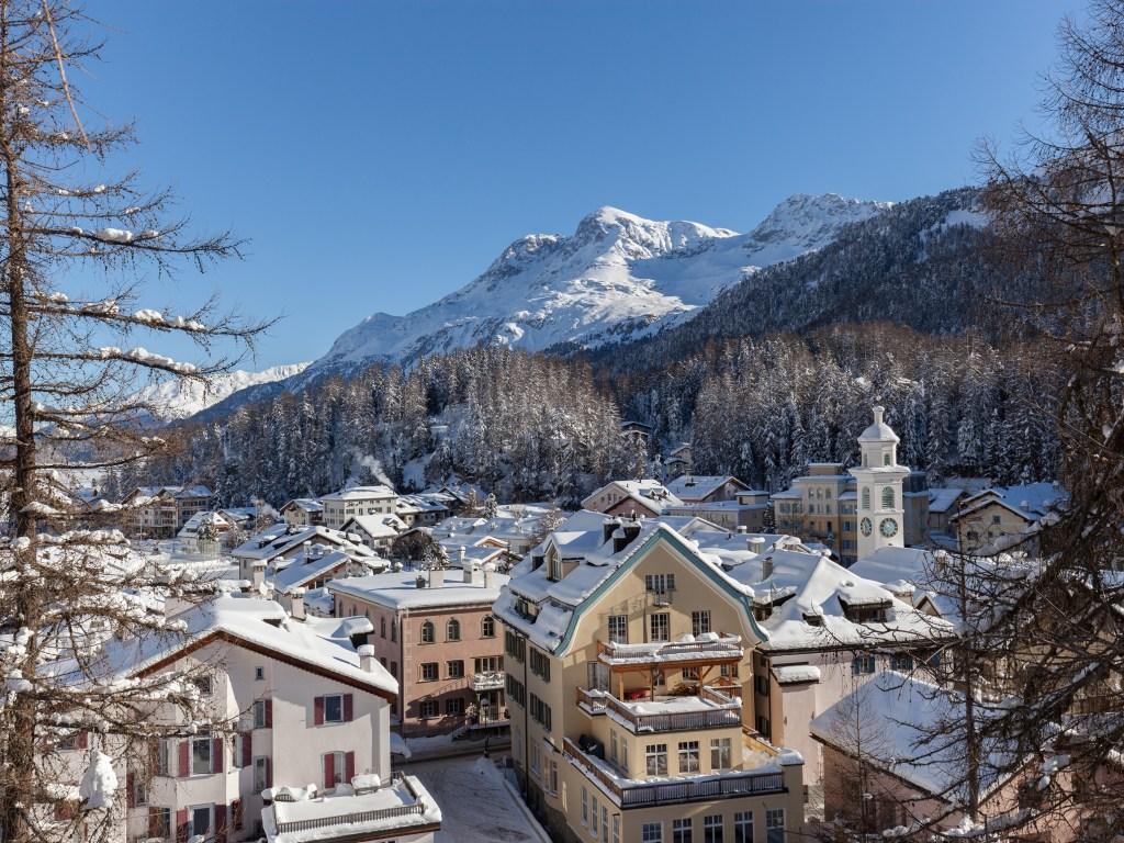 Engadin St.Moritz - Ausblick über Sils, Winteraufnahme