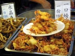 Fried crabs at Shilin night market