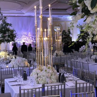 party decoration with flowers and candle