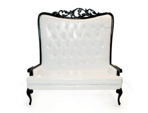 Tiffany Love Seat White With Black Frame