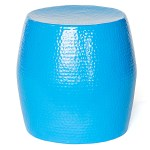 Pop Hammered Stool/Side Table Blue