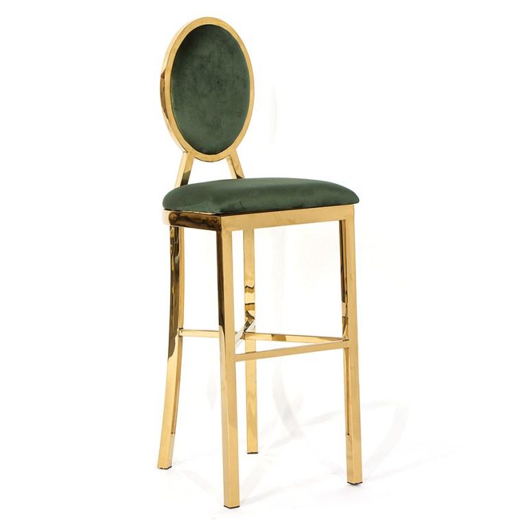 Bark Bar Stool Gold/Emerald Green