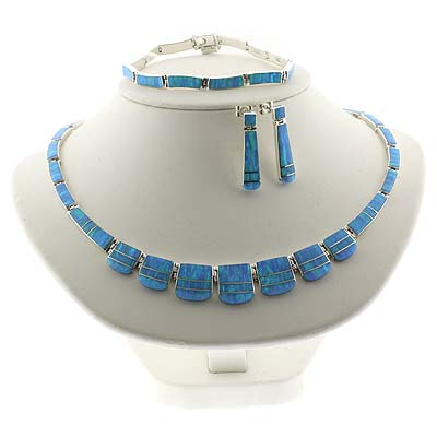 Mexican Fire Blue Opal Silver Necklace Bracelet And