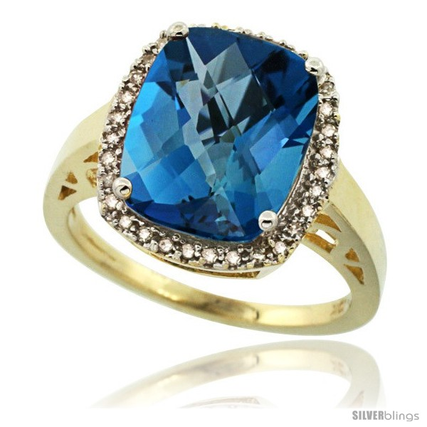 10k Yellow Gold Diamond London Blue Topaz Ring 517 Ct