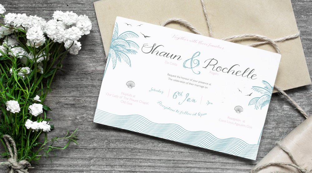 Bespoke wedding invitations for Shaun and Rochelle