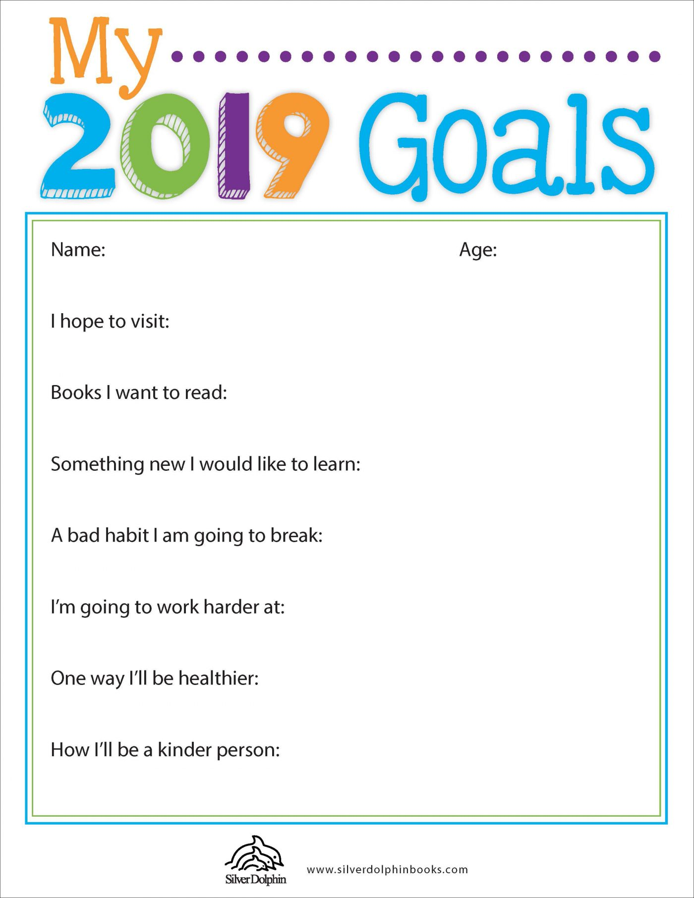 Goals Worksheet For Elementary Students