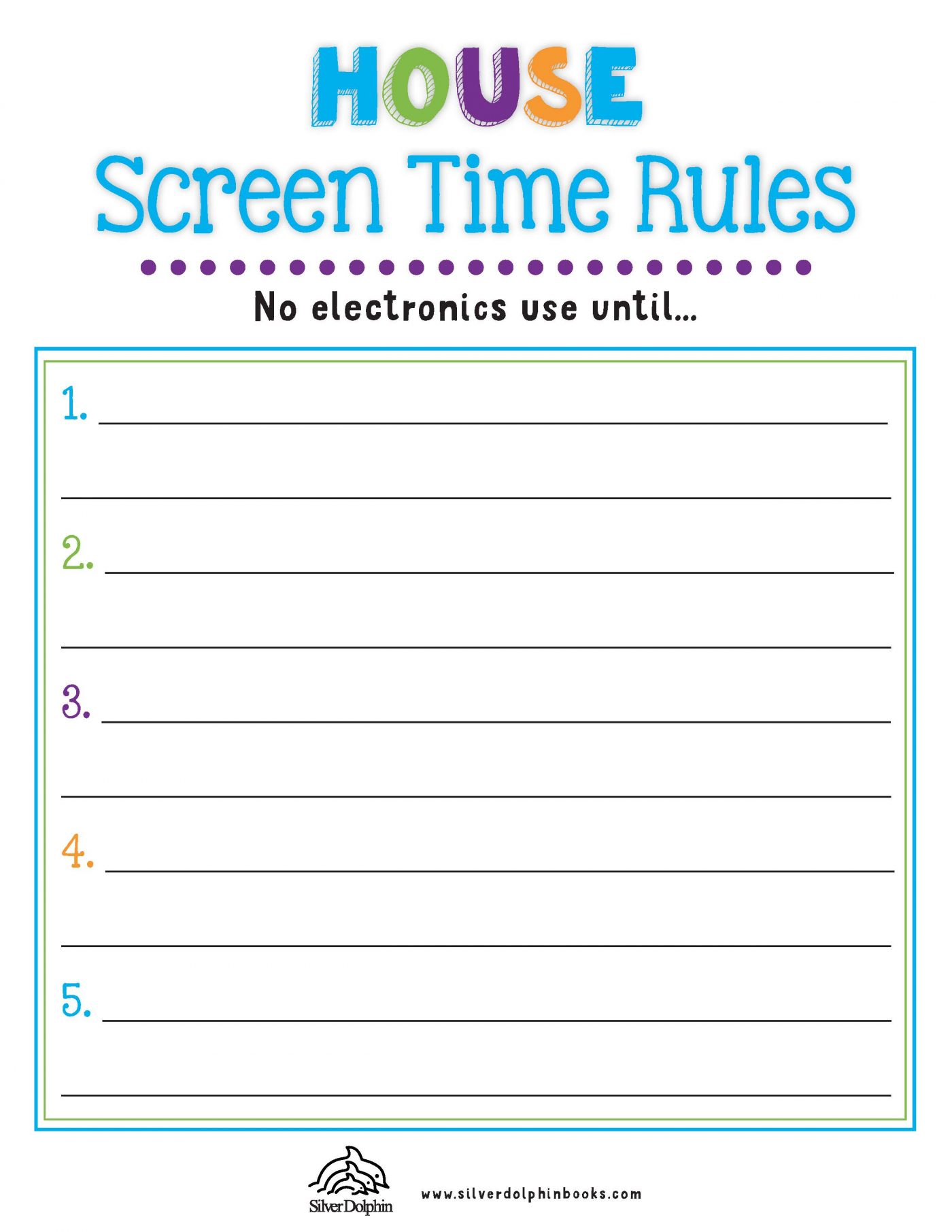 Summer Screen Time Rules Checklists