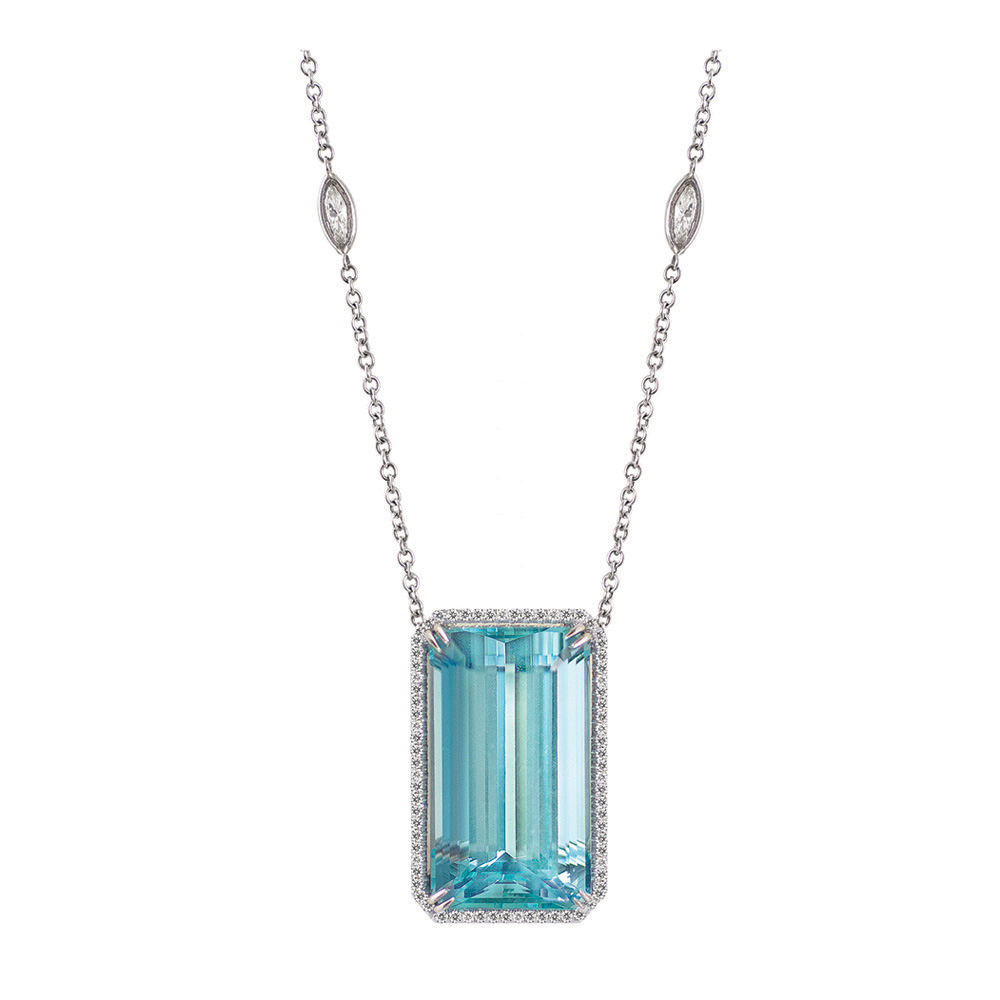 cellini coloured jewellers pear shape pendant product stones marine aqua aquamarine