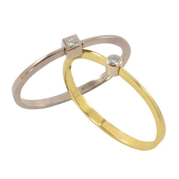 Silverhorn white and yellow gold diamond bangle
