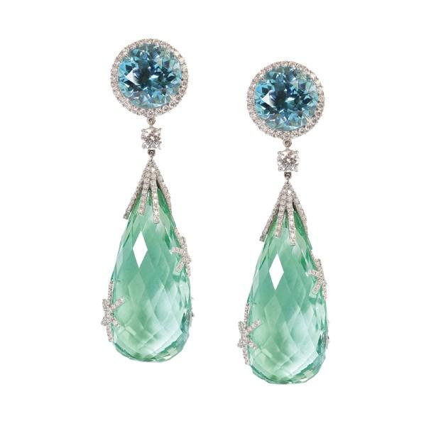 Zircon and Tourmaline Starburst Earrings