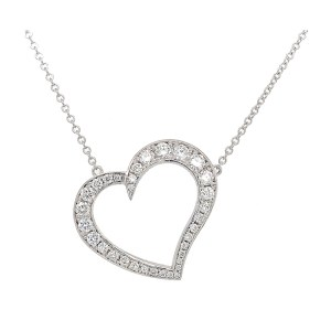 Silverhorn Diamond heart necklace set in white gold