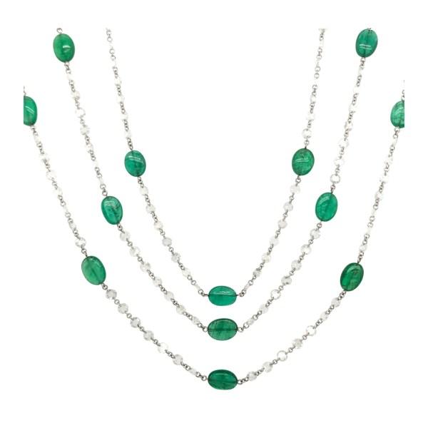Silverhorn Emerald and diamond necklace
