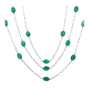 Silverhorn Emerald and diamond necklace