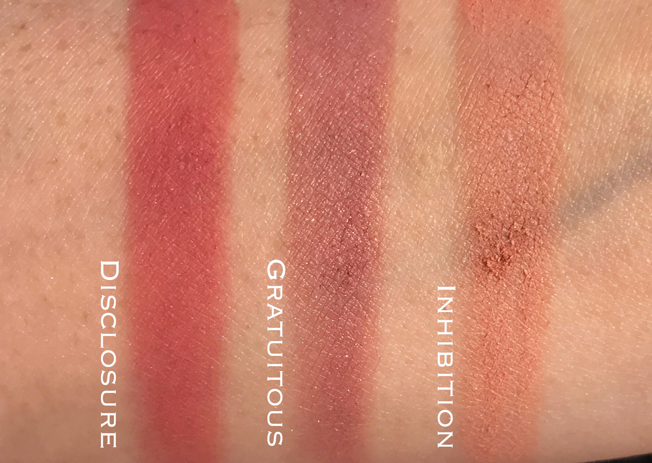 Tom Ford Cheek Color Inhibition, Gratuitous, Disclosure swatches
