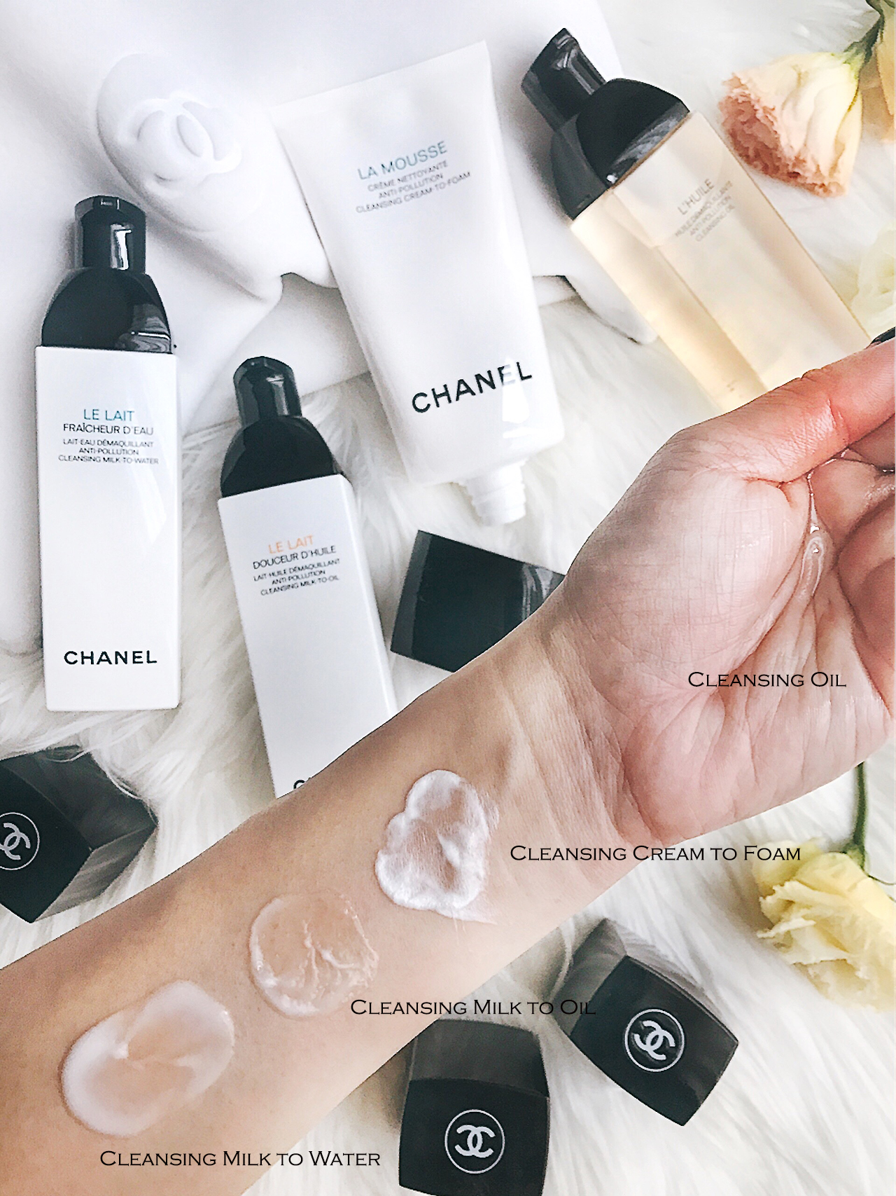 Chanel Cleanser Collection swatches