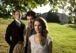 J.J. Feild (Mr. Nobley), Bret McKenzie (Martin), and Keri Russell (Jane) in Austenland.