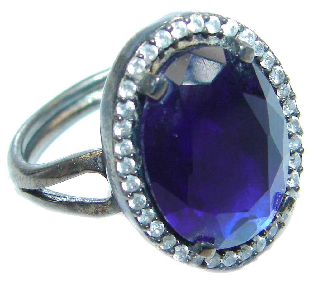 Created Blue Sapphire Amp White Topaz Sterling Silver Ring S
