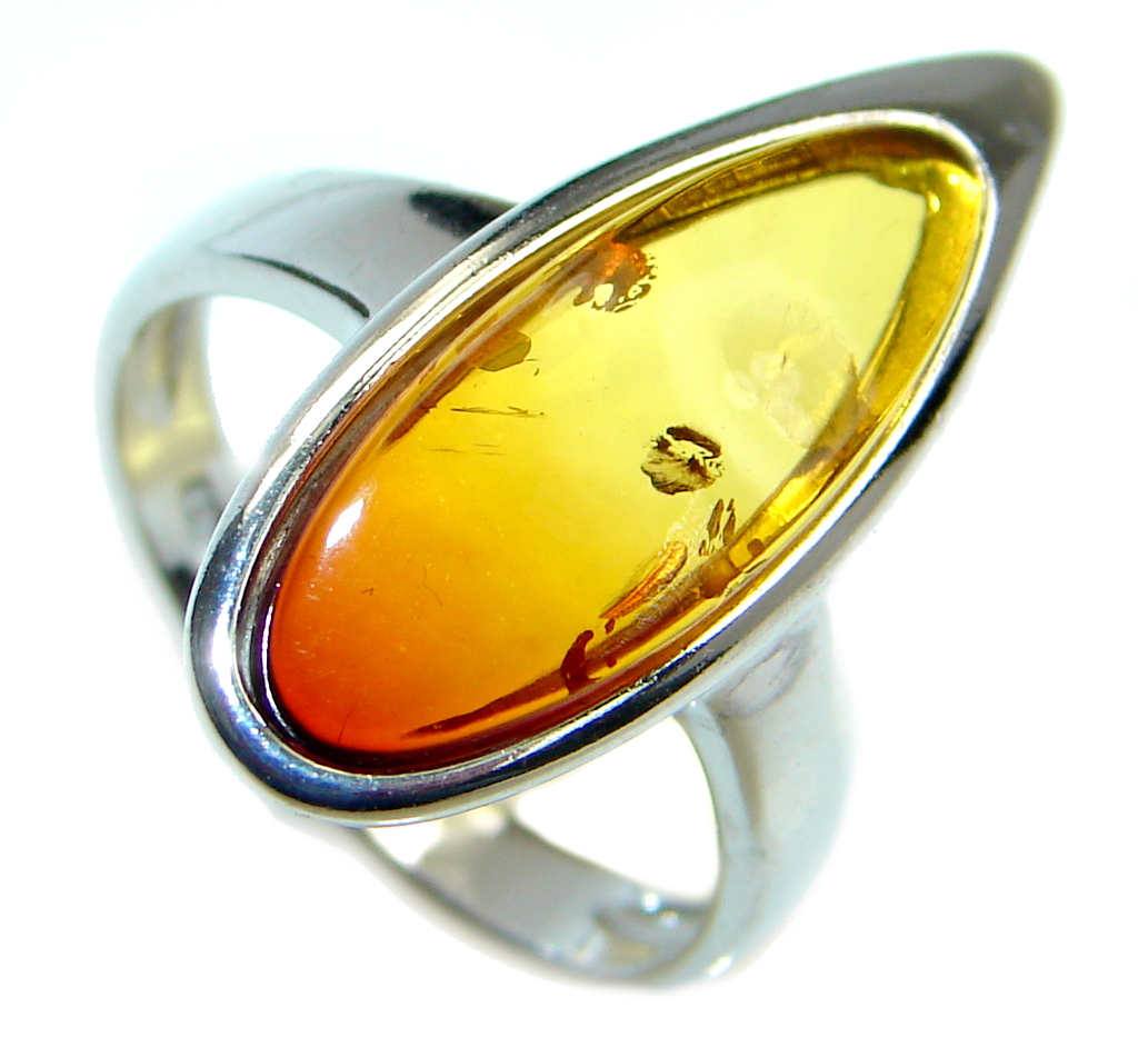 Genuine Baltic Polish Amber Sterling Silver Handmade Ring