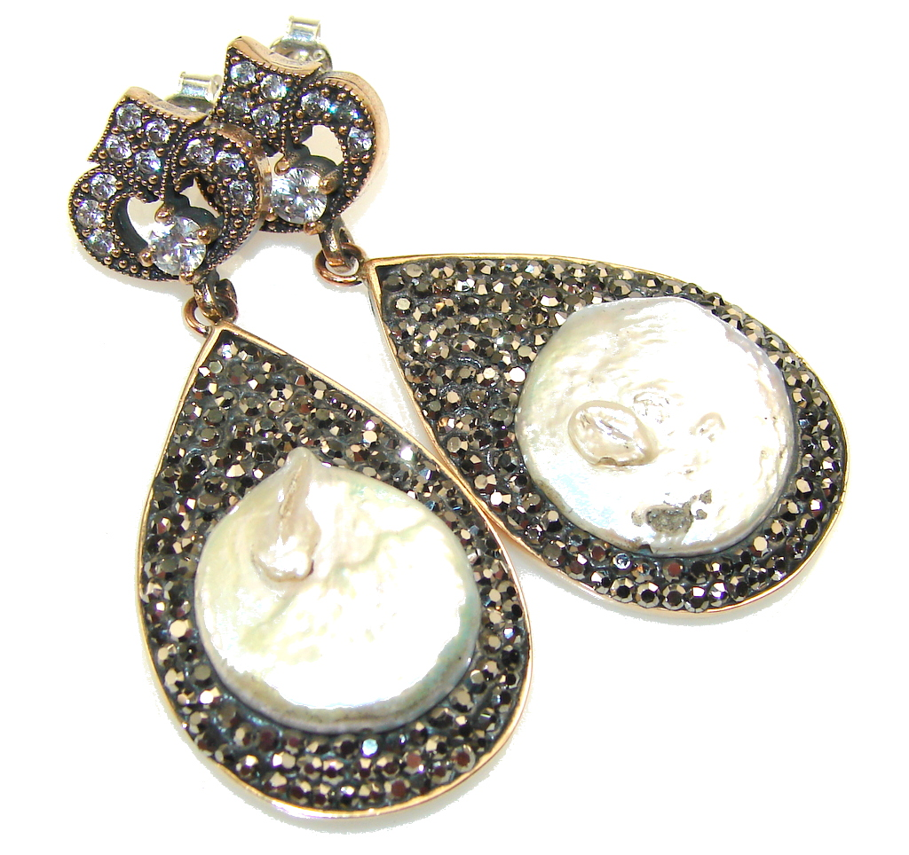 Turkish Design Mother Of Pearl Sterling Silver Earrings