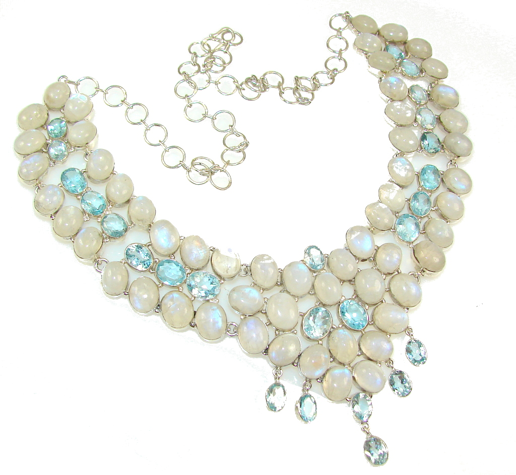 Huge Luxury White Moonstone Sterling Silver Necklace