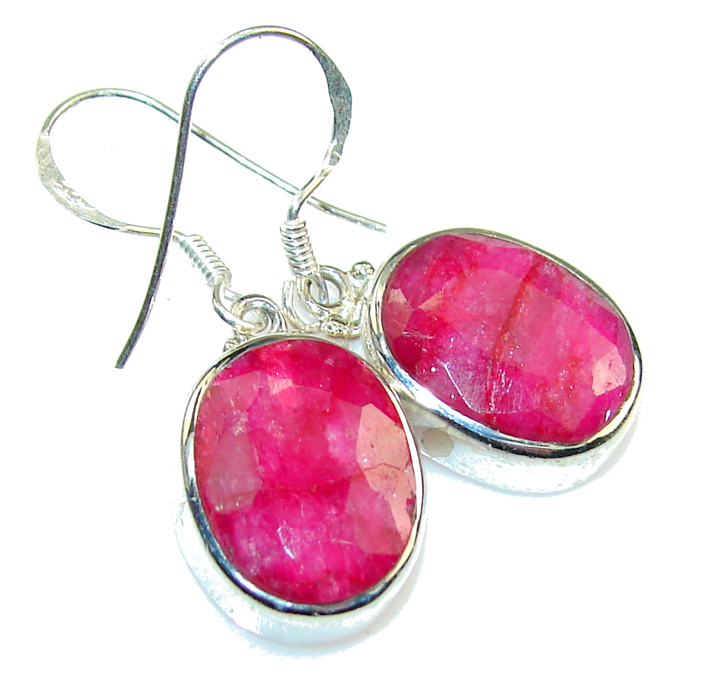 Natural Pink Ruby Sterling Silver Earrings 590g 55