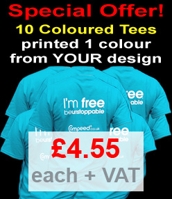 10 Coloured Tees Printed in 1 colour from YOUR design