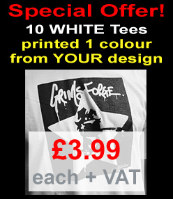 10 White Tees Printed in 1 colour from YOUR design