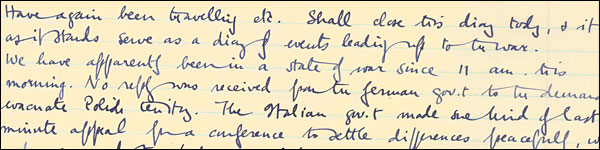 George Orwell\'s Diary Entry from September 3rd, 1939. Original image from The Orwell Prize (http://www.theorwellprize.co.uk)