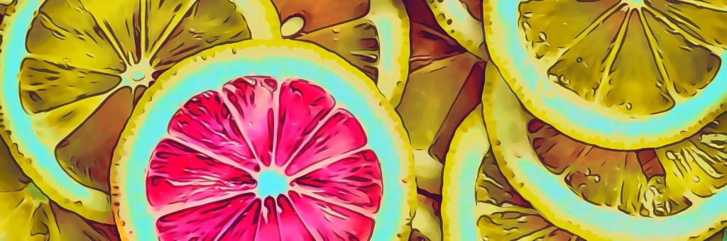 A pink lemon slice in a sea of yellow lemon slices