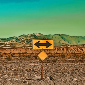 A sign in the desert pointing in two directions