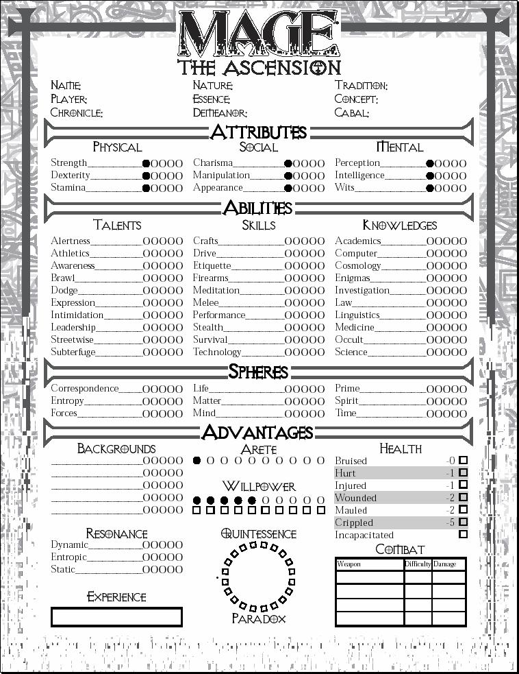 Mage Ascension Character Sheet