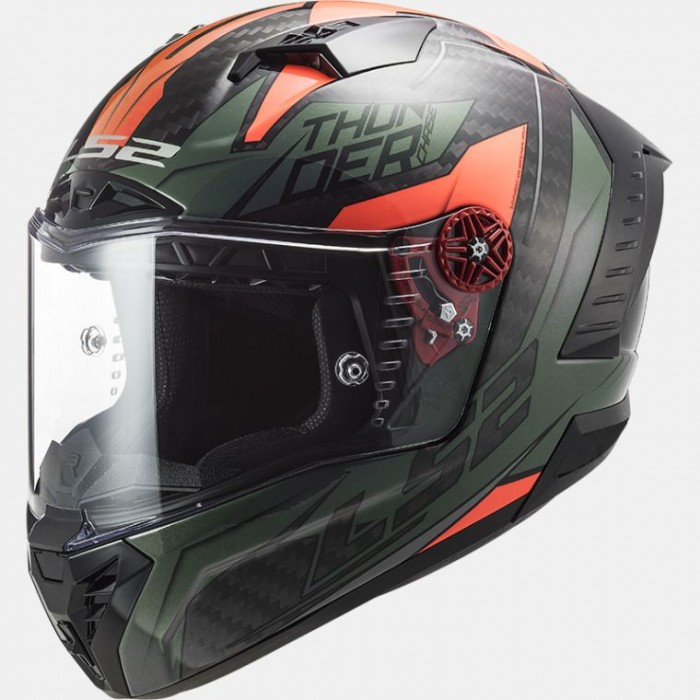 ls2 ff805 thunder c chase carbon integral helmet gloss carbon green orange