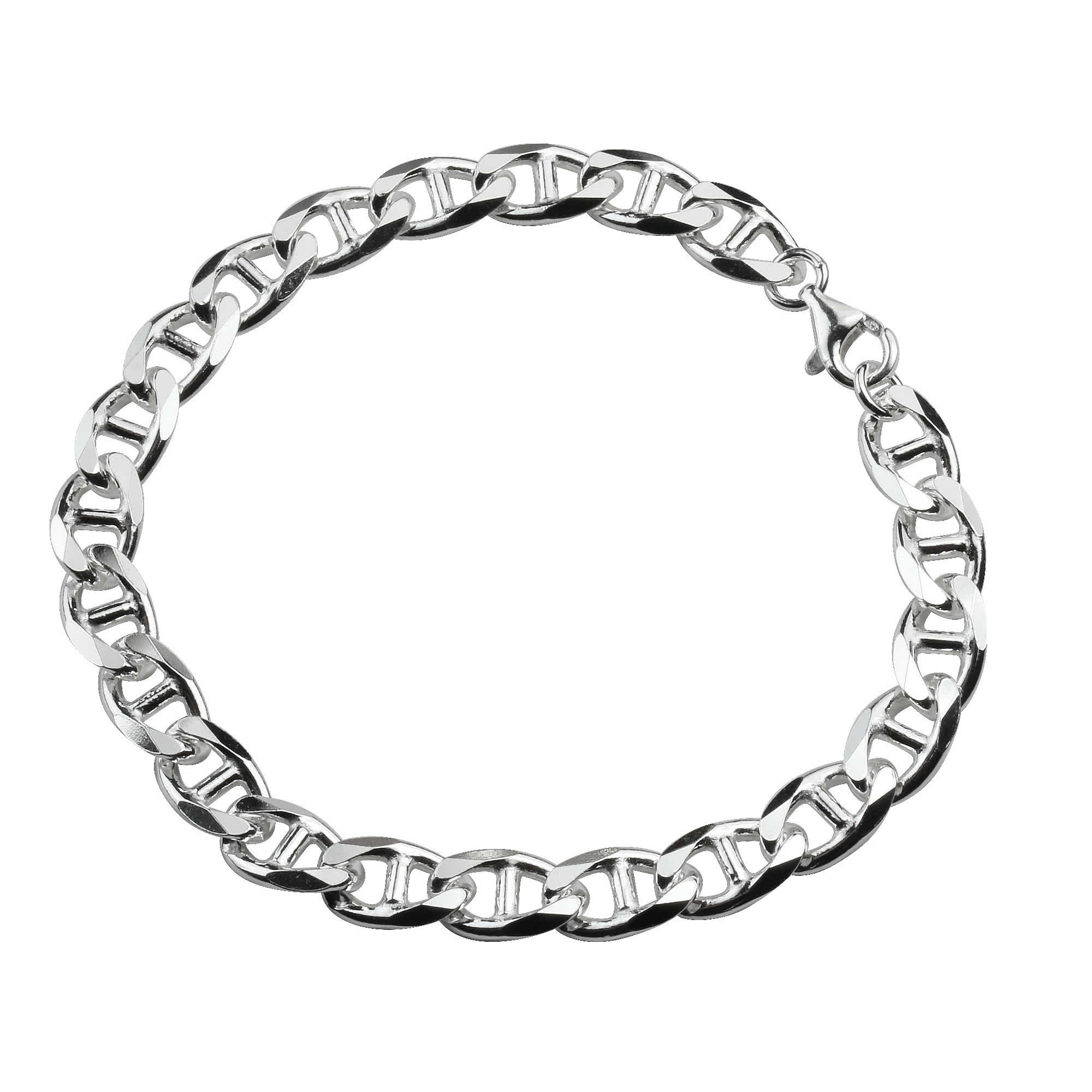 Mens Sterling Silver Anchor Curb Bracelet