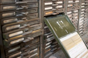 Picture of old filing shelves to hold spare parts
