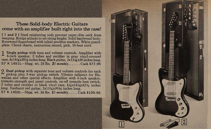 Silvertone World Electric Guitars Amp Amplifiers 1960s Model 1452 Guitar And Amp In Case