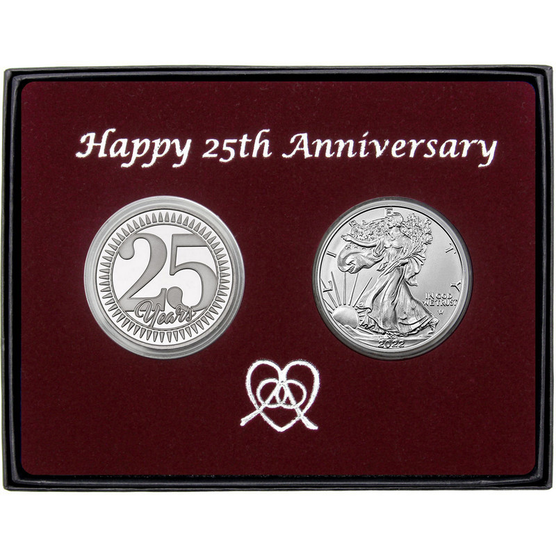 Silver Anniversary Gift Silver Round 2pc Set Silvertowne
