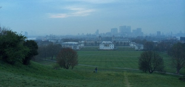 One of London's great views blighted by smog. Greenwich Park, 8pm on 2 April